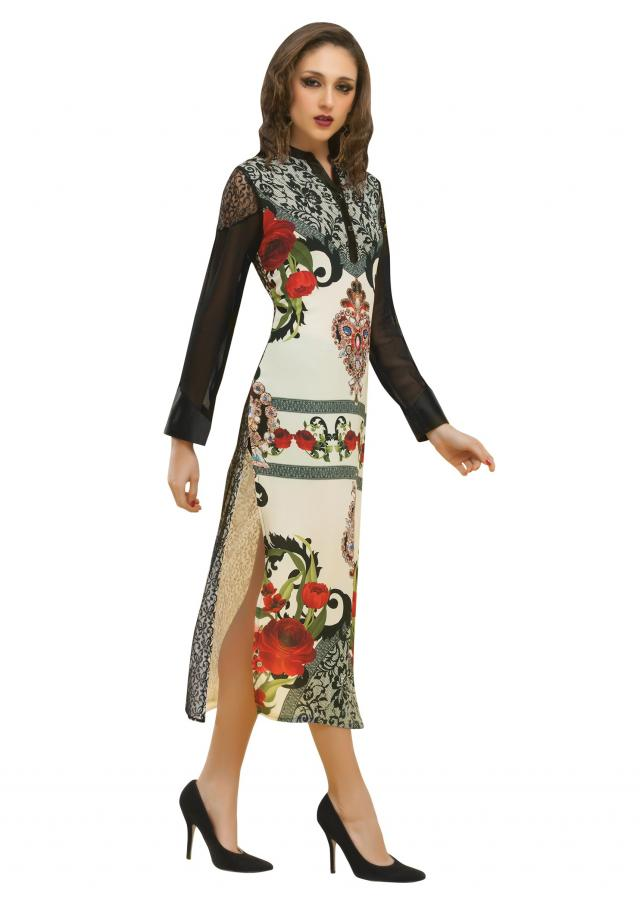 Cream long kurti enhanced in digital print