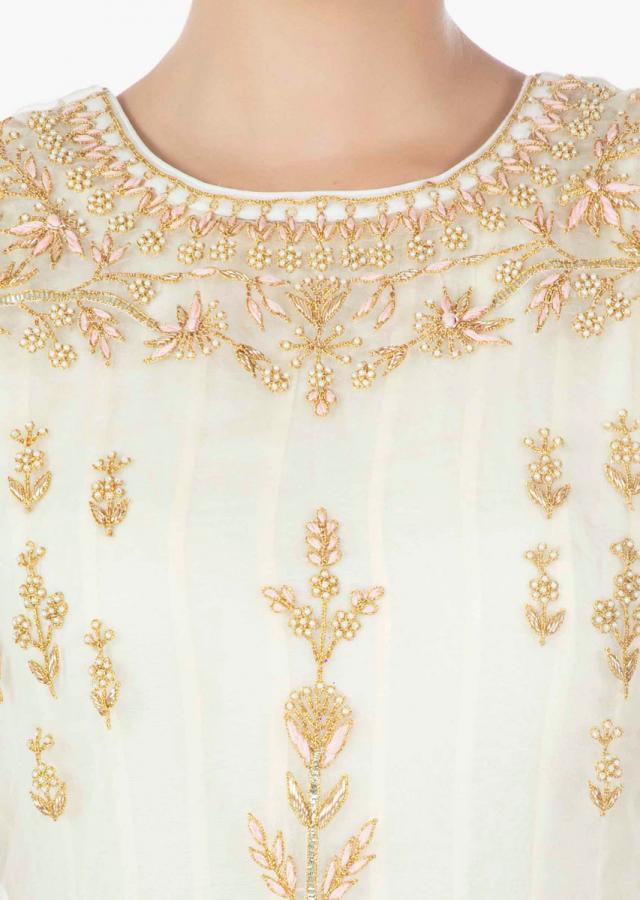 Cream Top In Organza Silk With Cotton Inners And Chiffon Dupatta Online - Kalki Fashion
