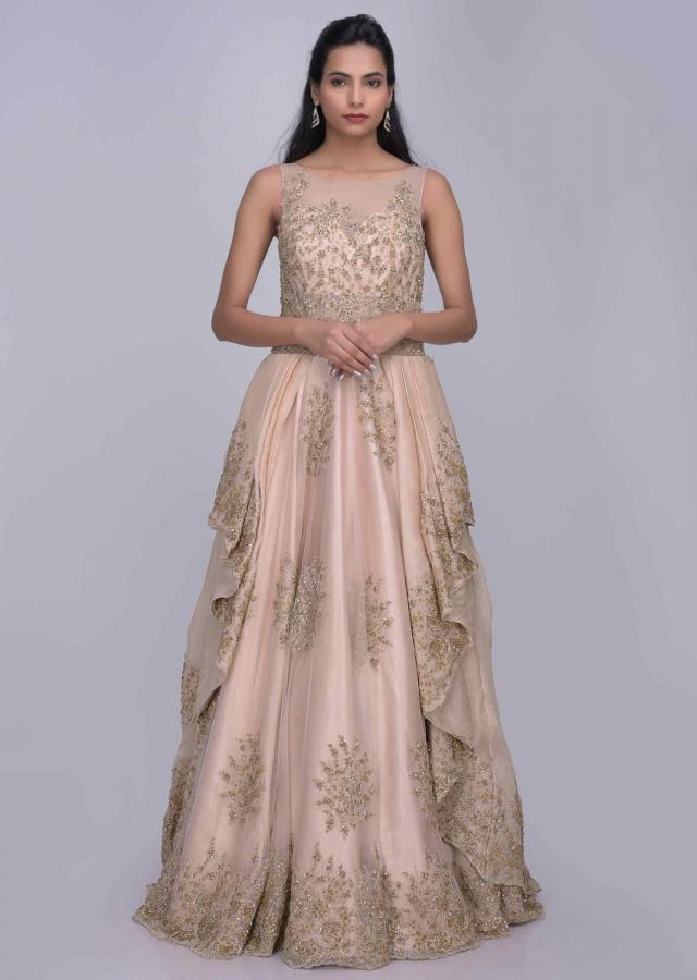 Cream Pink Ethnic Gown With Enchanting Cascade Drape In Organza Fabric Online - Kalki Fashion