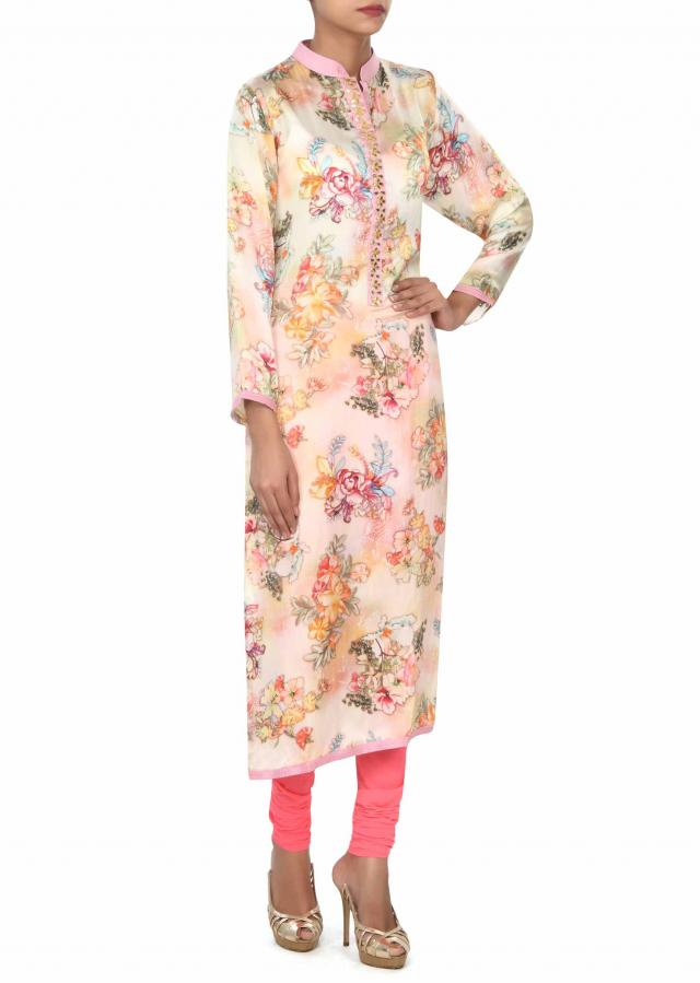 Cream printed kurti with gotta patch work placket only on Kalki