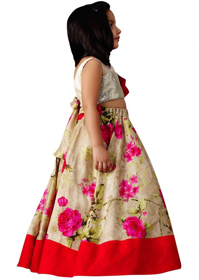 Cream printed lehenga in sequin blouse
