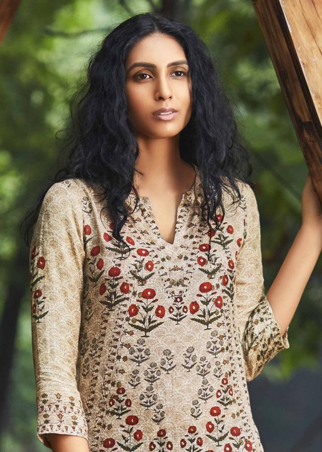 Cream cotton silk floral printed suit with olive green cotton pants