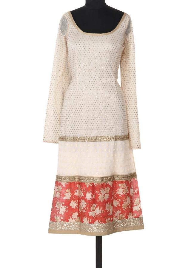 Cream semi stitched suit adorn in floral print only on Kalki