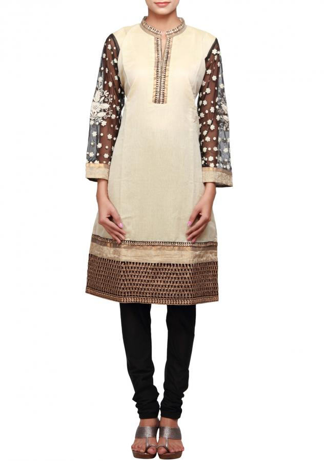 Cream straight fit suit featuring with embellished placket and  sleeve only on Kalki