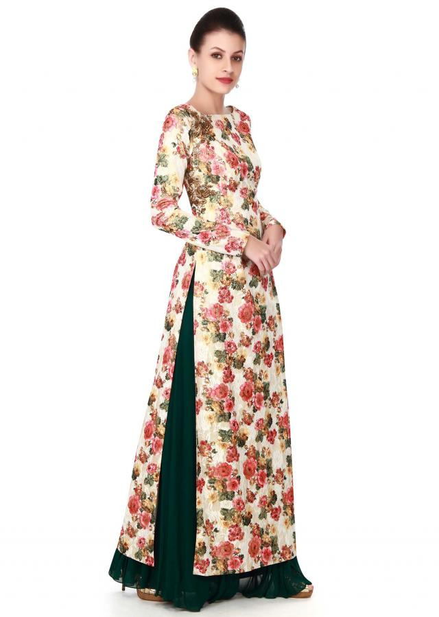 Cream straight suit in floral print and zardosi butti only on Kalki