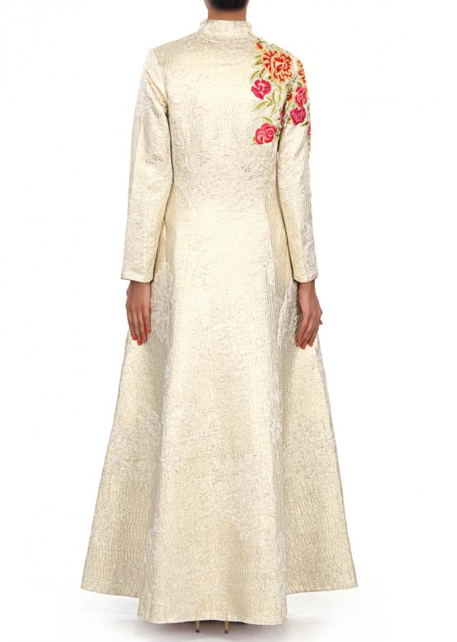 Cream suit embellished in resham embroidery only on Kalki