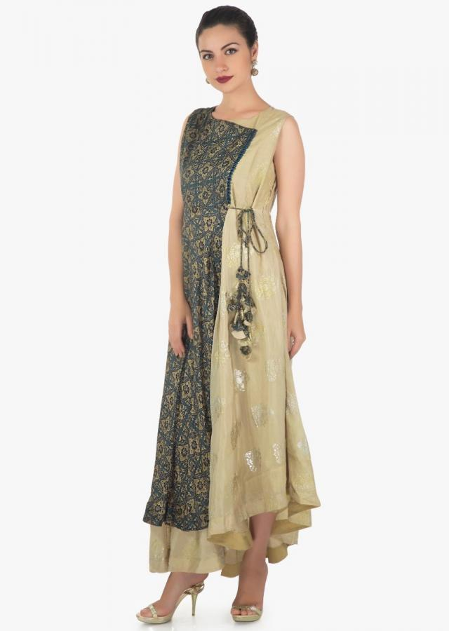 Cream and indigo blue kurti in satin silk with embossed butti print only on Kalki