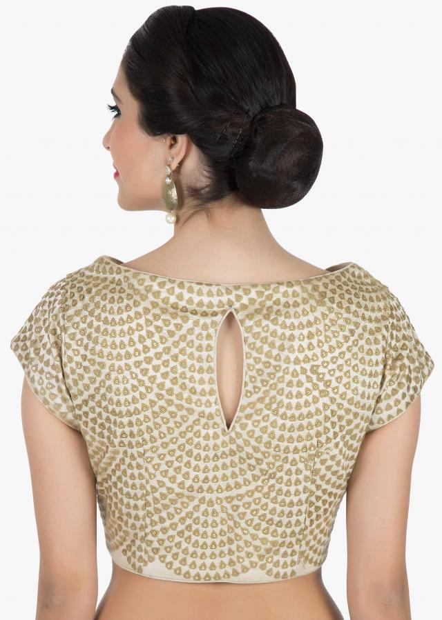 Cream blouse in raw silk with thread and sequin embroidered butti only on Kalki