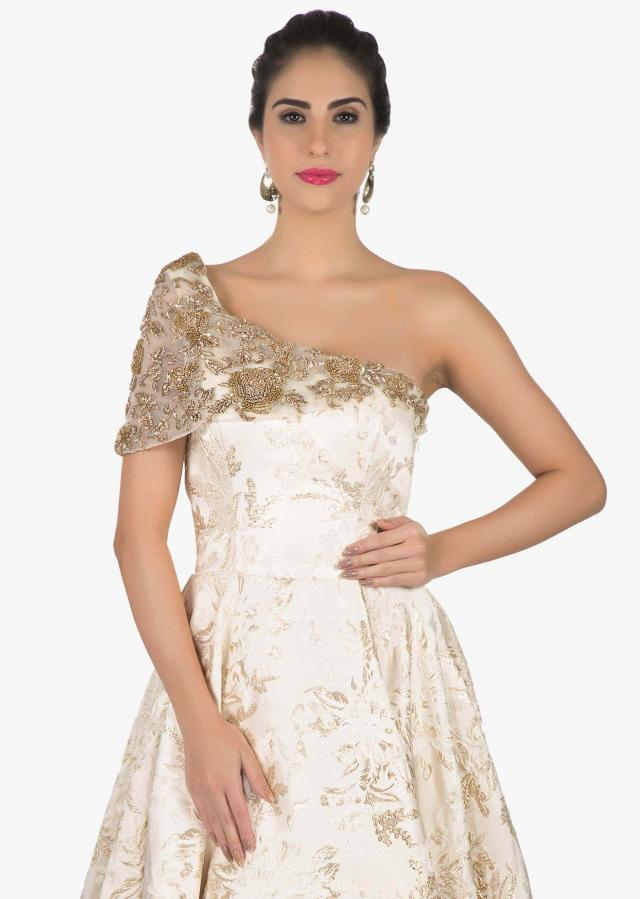 Cream colored off shoulder gown only on Kalki
