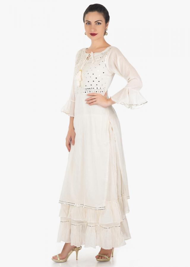 Cream double layer dress embellished in mirror and resham embroidery only on Kalki
