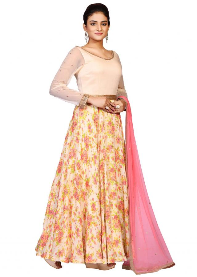 Cream printed suit in georgette showcased in sequin embroidery only on Kalki