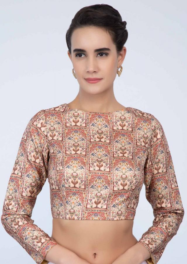 Creamish peach high neck blouse in digital print only on Kalki