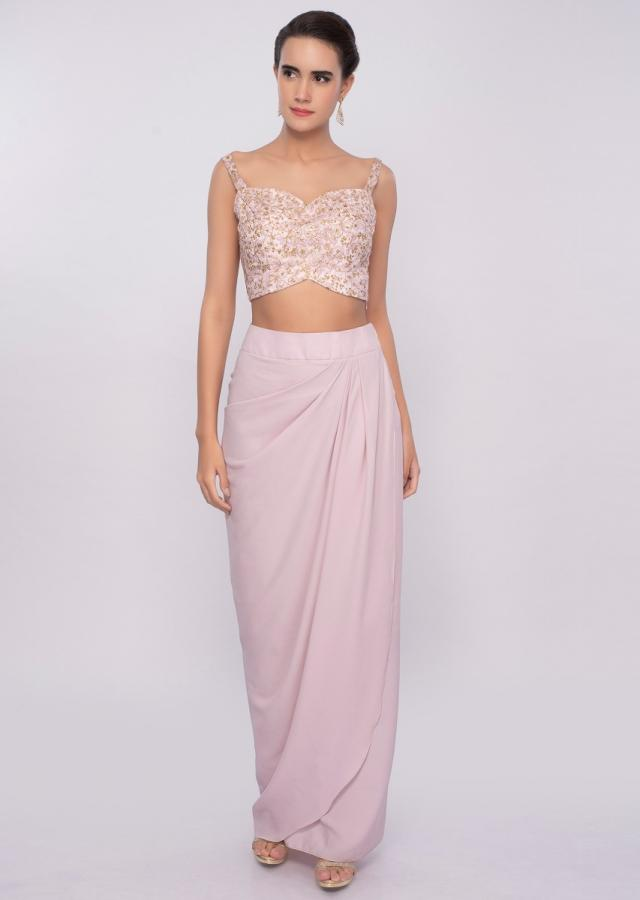 Pink Dhoti Skirt And Crop Top In In Crepe With Long Jacket Online - Kalki Fashion
