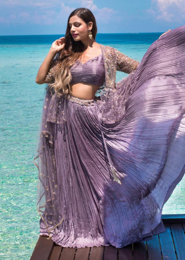 Lavender Lehenga Choli In Crushed Satin With Embroidered Net Dupatta And Jacket Online - Kalki Fashion