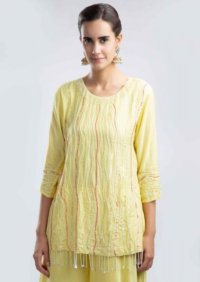 Yellow Short Suit With Cut Dana And Sequins Embroidery And Matching Palazzo And Dupatta Online - Kalki Fashion