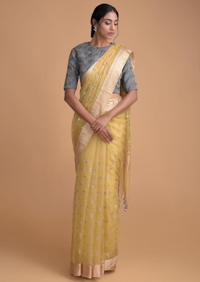 Cyber Yellow Saree In Organza Silk With Floral Buttis And A Lead Grey Blouse Online - Kalki Fashion