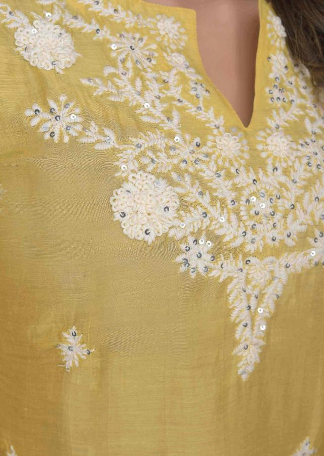 Daffodil Yellow Kurti In Embroidered Cotton Online - Kalki Fashion