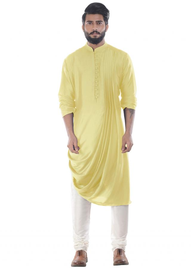 Daffodil Cowl Drape Kurta With Churidar Pants