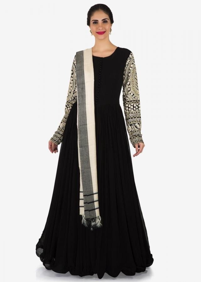 Black anarkali suit in crepe with thread embroidered sleeve only on Kalki