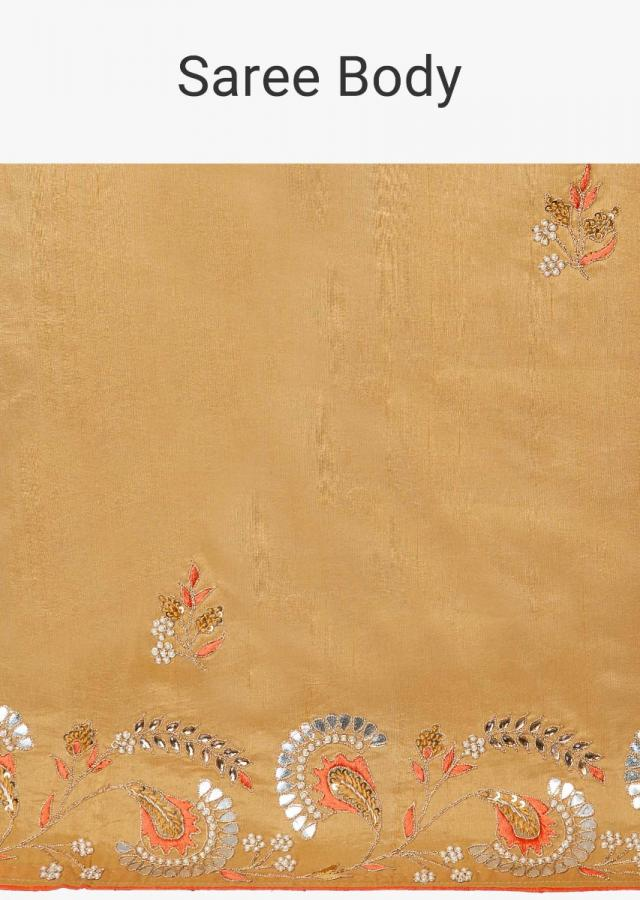 Dark gold silk saree with embroidered butti and border only on Kalki