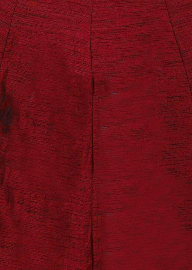Maroon Raw Silk with Zardosi  nekcline and Brocade Silk Dupatta only on Kalki