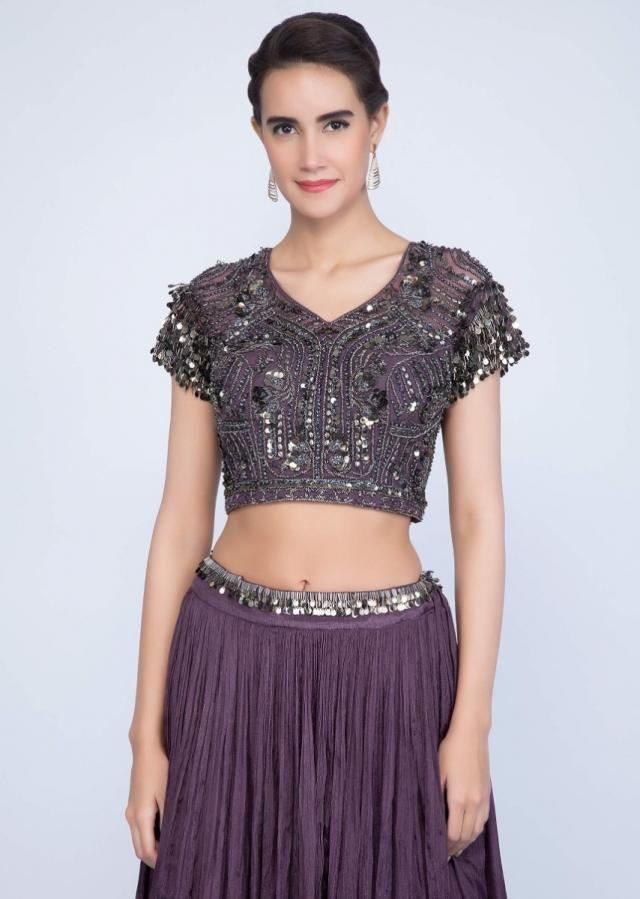 Dark Purple Lehenga With Embroidered Blouse And Fancy Dupatta Online - Kalki Fashion