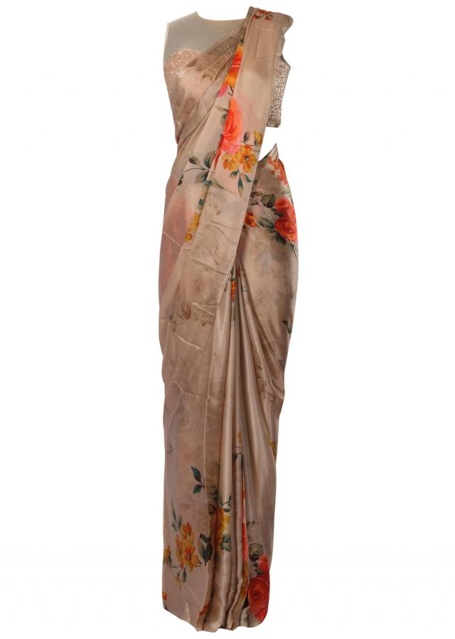 Dark cream saree in crepe georgette with rose motif print only on Kalki