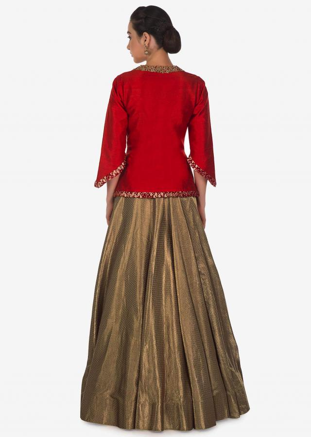 Dark gold lehenga with red jacket blouse adorn in zardosi and pleats only on Kalki