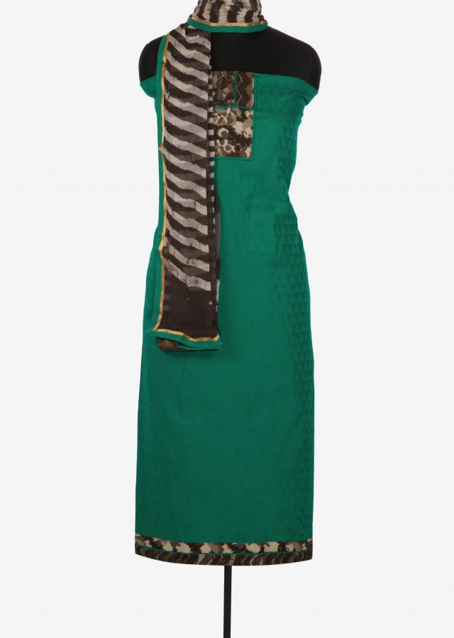 Dark green and brown unstitched printed suit only on Kalki