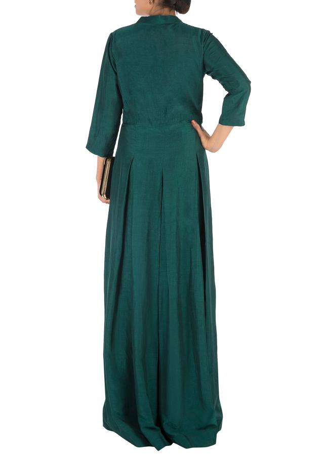 Dark Green Box Pleat Gown