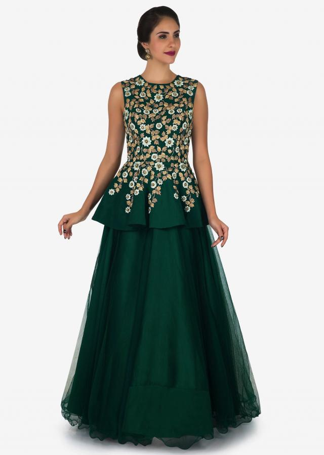 Dark green gown in taffeta crafted in resham and zari embroidered work only on Kalki