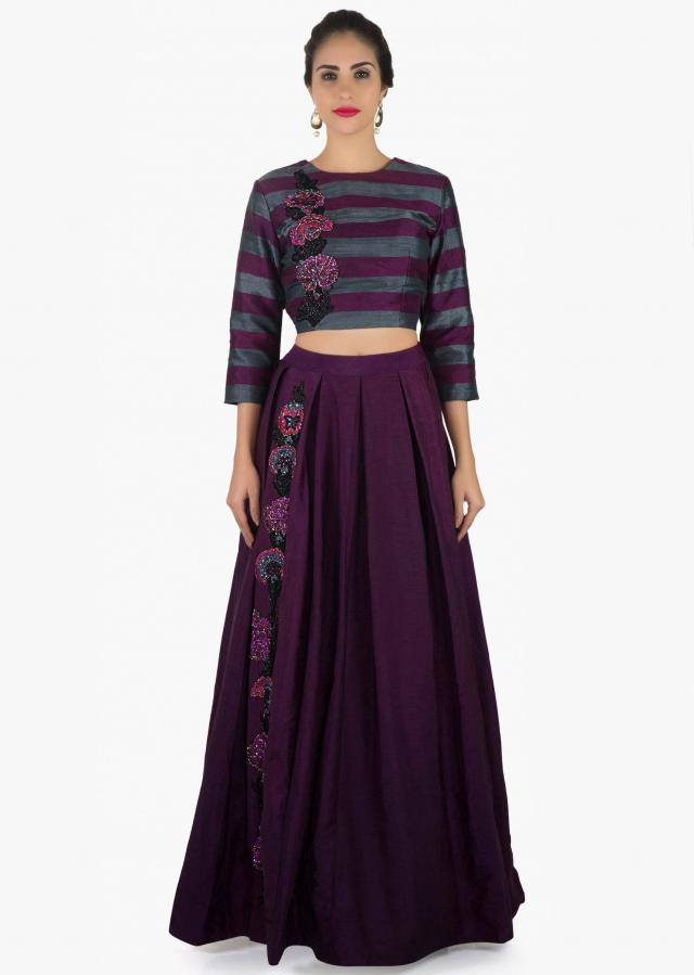 Dark purple lehenga set in raw silk with embroidered side kali only on Kalki