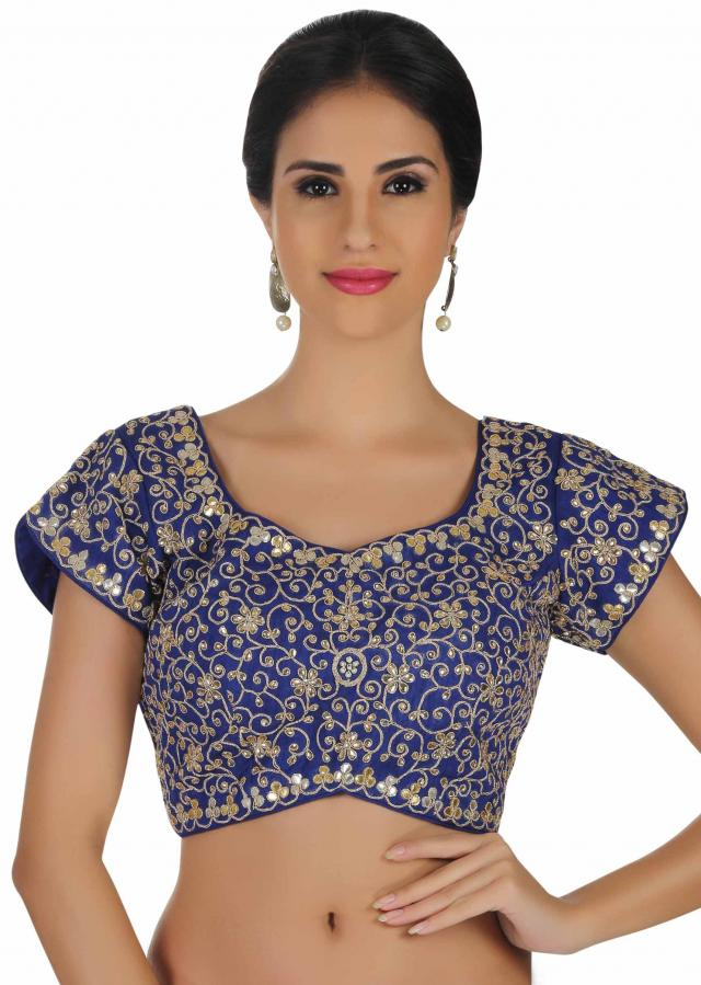 Dazzling blue blouse in raw silk adorn in  kundan and gotta patch work only on kalki