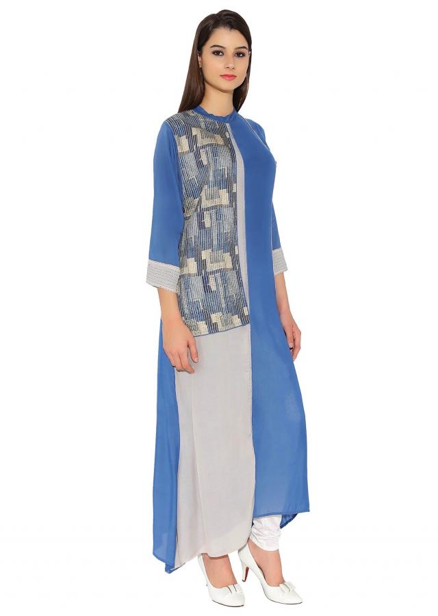 Denim Blue Cotton Kurti With Abstract Print Half Jacket Style Designer Only On Kalki