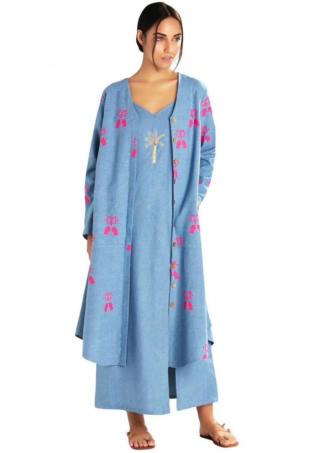 Denim embroidered slip dress by Masaba