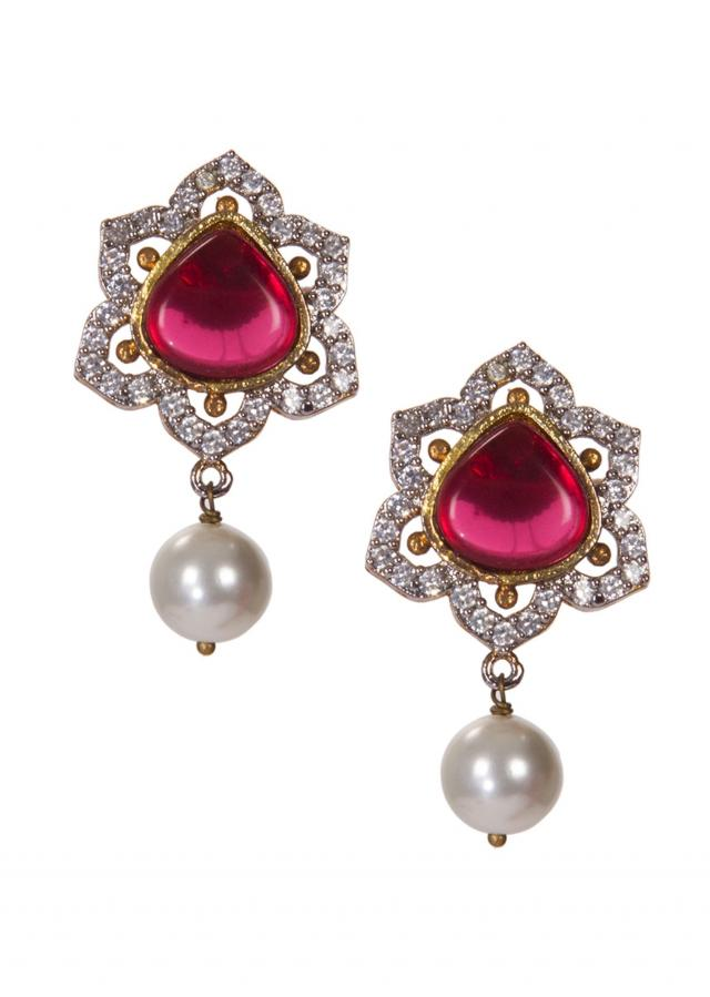 Diamond Earrings Studded With Red Gemstones and White Pearl Drop only on Kalki