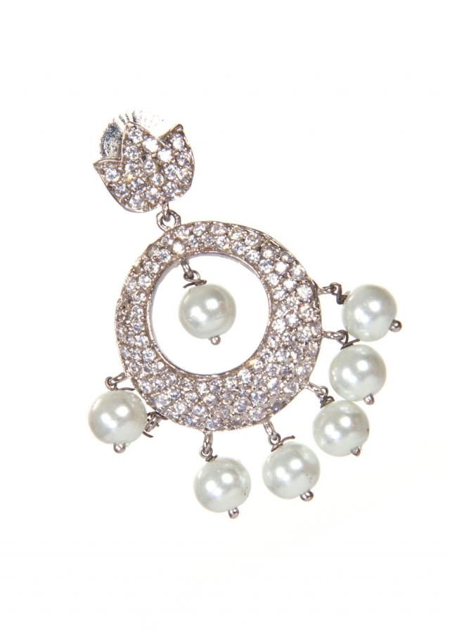 Diamond Studded Earrings In The Shape of Dream Catcher With Pearl Droopers only on Kalki