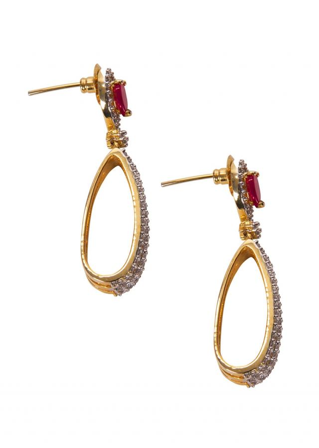 Diamond Studded Earrings With Red Gem only on Kalki