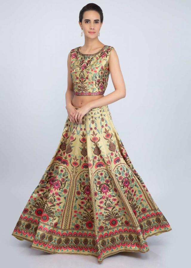 Digital printed golden lehenga set featured in satin only on Kalki