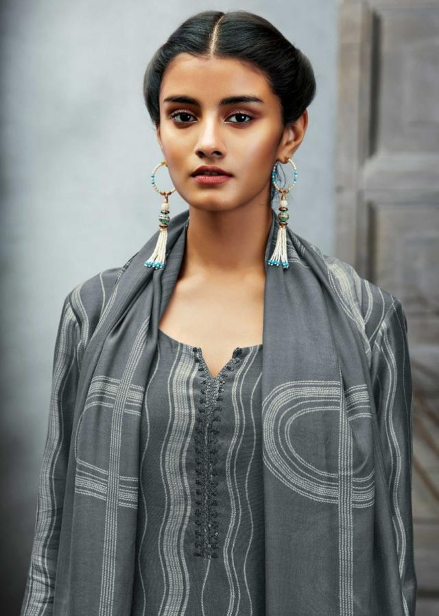 Dove Grey Unstitched Suit With Vertical Curve Printed Pattern And Sequin Embroidered Placket Online - Kalki Fashion