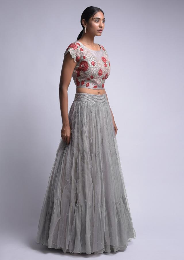 Dovetail Grey Lehenga With Embellished Floral Crop Top And Ruffle Dupatta Online - Kalki Fashion