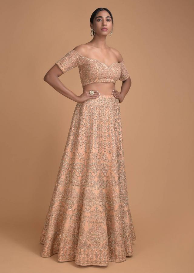 Dull Peach Lehenga With Off Shoulder Choli in Applique And Zardosi Embroidery Online - Kalki Fashion