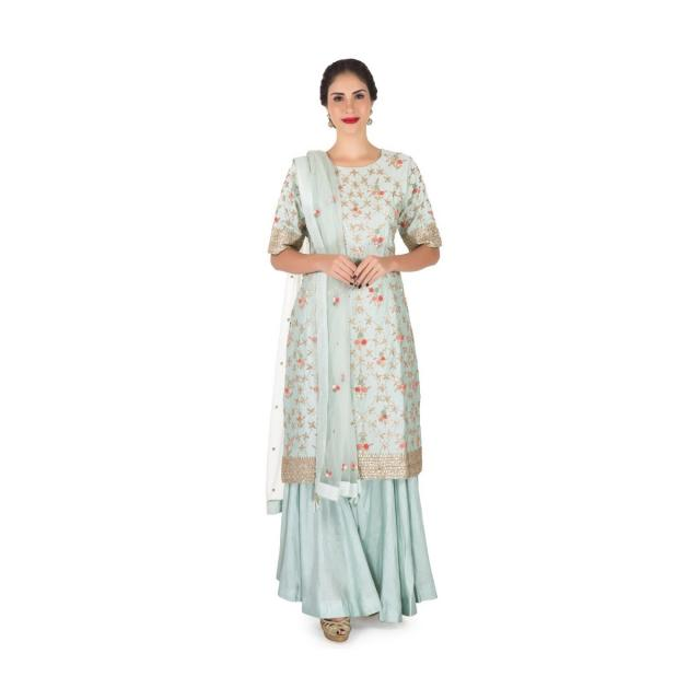 Dull blue palazzo suit in silk crafted in gota patti and resham embroidered work only on Kalki