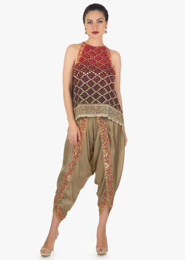 Dull gold Dhoti Salwar With shaded bandhani printed top and  jacket only on Kalki