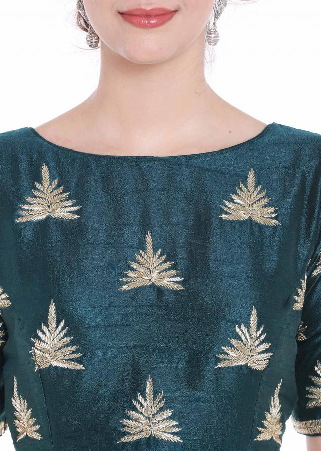 Dusk blue raw silk blouse with cut dana butti in leaf motif embroidery only on Kalki
