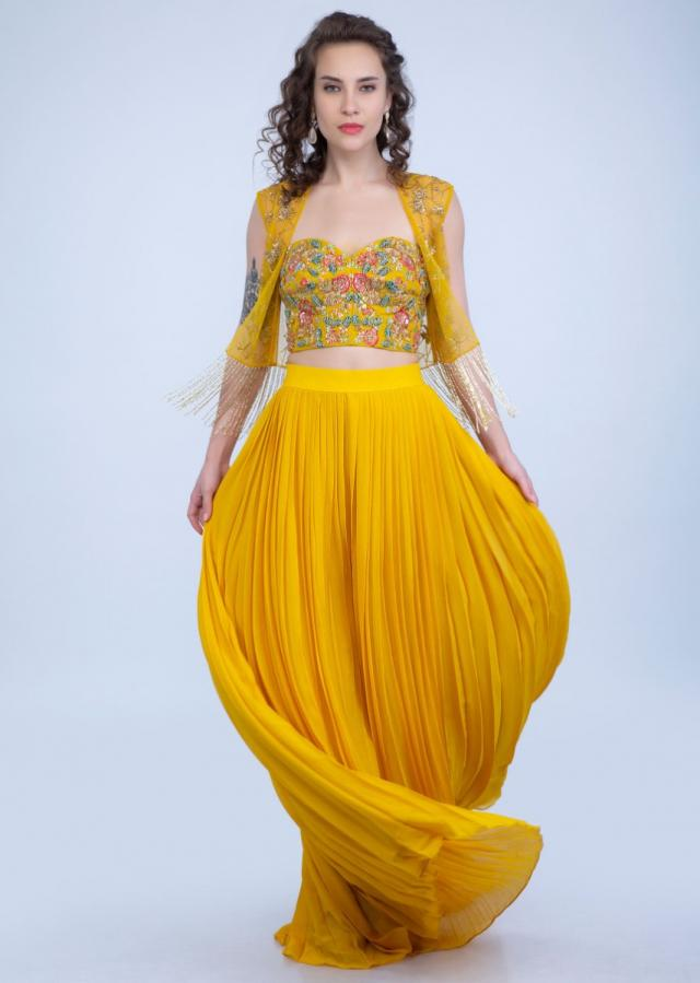 Dustan Sun Mustard Palazzo In Georgette With Strapless Corset And Embroidered Net Jacket With Tassels Online - Kalki Fashion