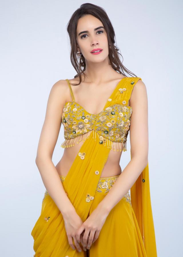 Dustan Sun Mustard Palazzo Saree With Embroidered Crop Top Online - Kalki Fashion