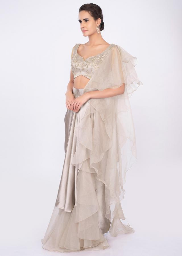 Champagne gold ready pleated  saree with organza side drape only on kalki