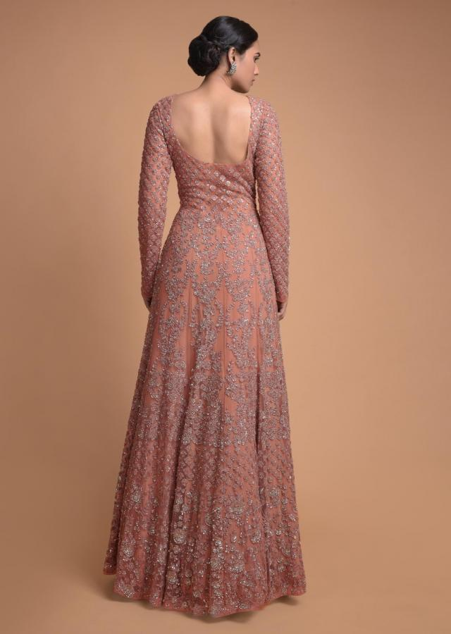 Dusty Rose Pink Anarkali Suit With Thread, Sequins And Cut Dana Embroidery Online - Kalki Fashion