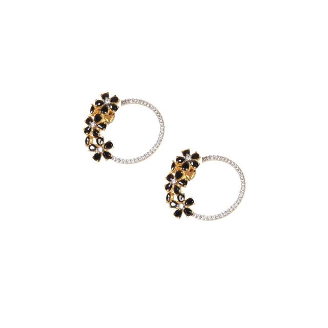 Earrings with combination of black stone and diamond only on kalki